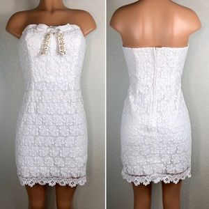 Lilly Pulitzer White strapless lace crochet dress